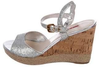 Prada Sport Glitter Wedge Sandals