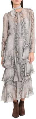 Zimmermann Corsage Tiered Python Dress