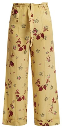 Valentino Floral Print Silk Crepe De Chine Trousers - Womens - Yellow Print