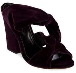 Sergio Rossi Moulage Block Heel Velvet Sandals