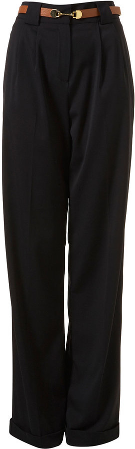 Tall Navy Belted Wide Leg Trousers