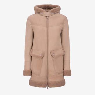Bally Shearling Parka Jacket Pink, Women's lamb shearling parka jacket in cipria
