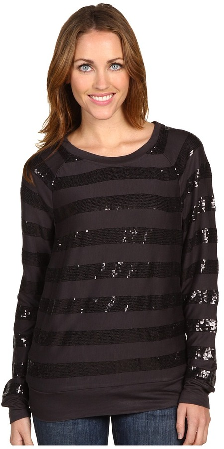 C&C California L/S Sequin Stripe Top (Barre) - Apparel