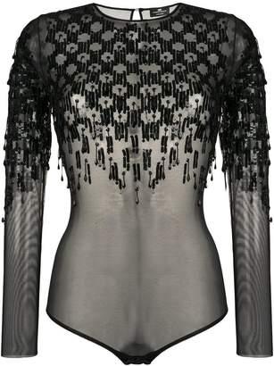 Elisabetta Franchi transparent sequin bodysuit