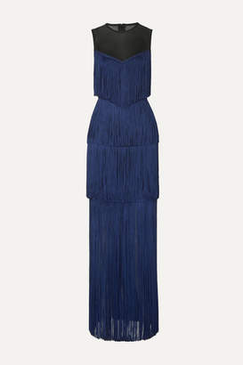 Herve Leger Tulle-paneled Fringed Bandage Gown - Midnight blue