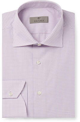 Canali Lilac Cutaway-Collar Gingham Cotton Shirt - Men - Purple