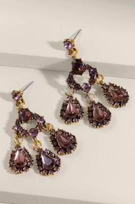 francesca's Charlotte Faceted Glass Chandelier Earrings - Purple