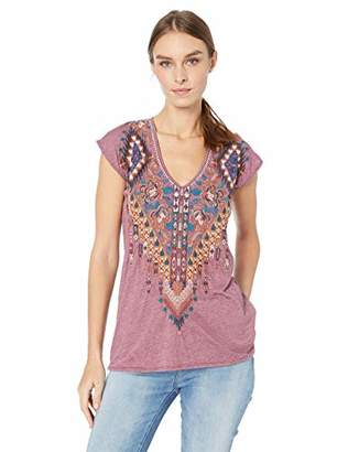 Johnny Was JWLA By Women's Embroidered Deep Scoop Jersey T-Shirt