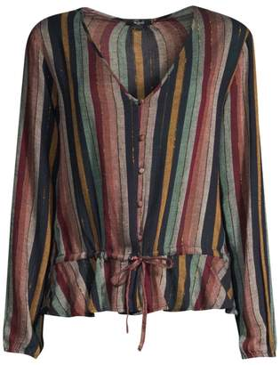 Rails Beaux Stripe Tie-Waist Button-Down Blouse