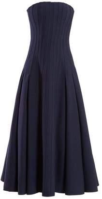 Gabriela Hearst Lamento Wool Blend Crepe Bustier Gown - Womens - Navy