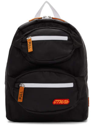 Heron Preston Black and Orange Double Padded Style Backpack