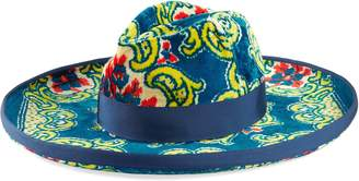 Gucci Velvet hat with floral brocade print