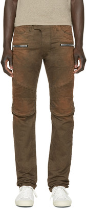 Balmain Brown Faded Biker Jeans $1,400 thestylecure.com