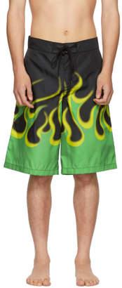 Prada Black Flame Bermuda Swim Shorts