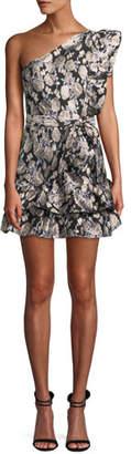 Saylor Madyson One-Shoulder Rose Jacquard Mini Cocktail Dress