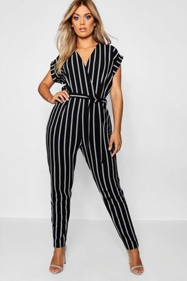 490e57a8aa91 boohoo Plus Pinstripe Tailored Jumpsuit