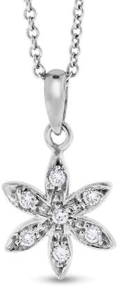 14K White Gold 0.15ct. Diamond Small Snowflake Pendant Necklace