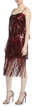 Dress the Population Roxy Sequin Fringe Sleeveless Dress