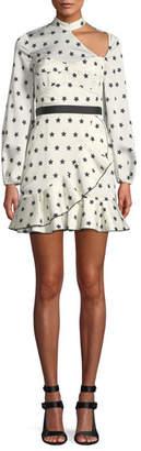 Self-Portrait Long-Sleeve Satin Star-Print Frill Mini Cocktail Dress