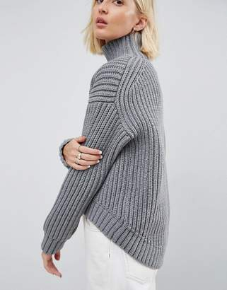 Asos Knit Jumper With Curved Hem