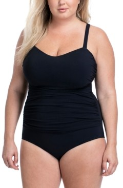 Gottex Plus Size Solid Tutti Frutti Wide Strap One-Piece Swimsuit Women's Swimsuit