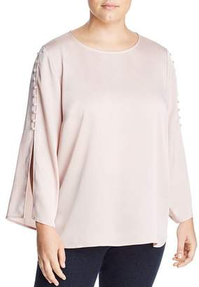 Vince Camuto Plus Buttoned Bell Sleeve Top