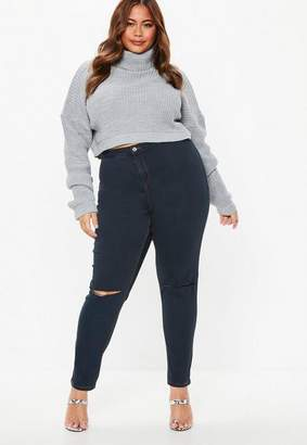 Missguided Plus Size Blue High Waisted Skinny Jeans