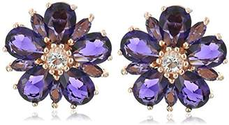 clear Sterling Silver with Pink Gold Plating and Crystal Flower Earrings