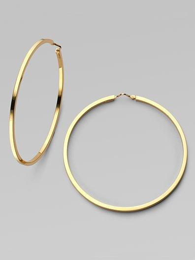 Charles Garnier 18K Gold Square-Edge Hoop Earrings/2¼