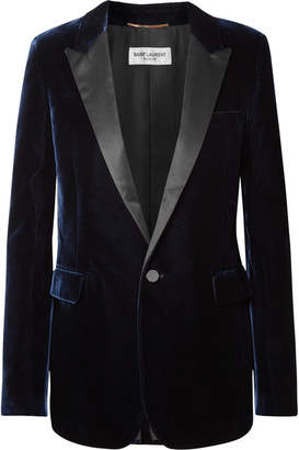 Saint Laurent Satin-trimmed Velvet Blazer - Navy