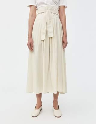 Black Crane Wrap Skirt in Cream
