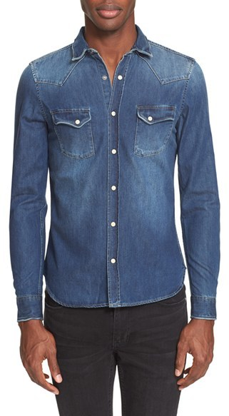Men's The Kooples Trim Fit Washed Denim Western Shirt