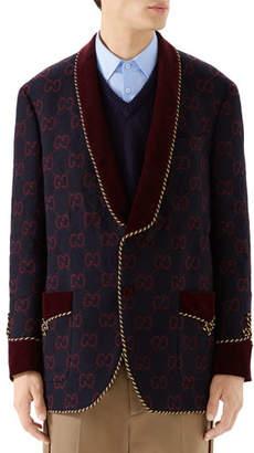 Gucci Men's GG Shawl-Collar Rope-Trim Jacket
