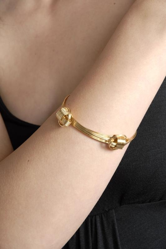 Rachel Leigh Gold Plated Knot Bangle Bracelet