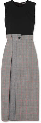 Alexander McQueen Prince Of Wales Checked Wool-blend Midi Dress - Black