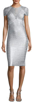 Herve Leger Geometric Illusion Straight Bandage Cocktail Dress