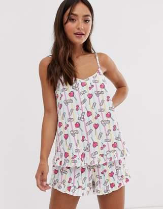 Asos Design DESIGN sweetie cami and short pyjama set