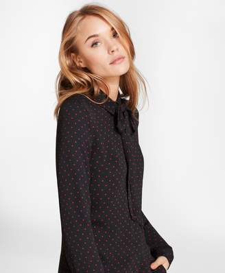 Brooks Brothers Polka Dot Georgette Bow Collar Shirt