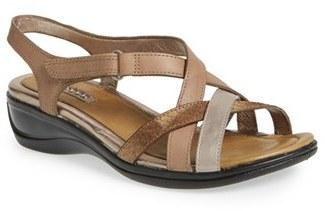 Women's Ecco 'Sensata' Mixed Finish Leather Cross Strap Sandal $119.95 thestylecure.com
