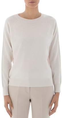 Peserico Metallic-Trimmed Virgin Wool, Silk & Cashmere Sweater