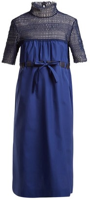 Thierry Colson Elizabethan Contrast Panel Cotton Dress - Womens - Navy