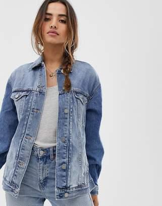 Asos Design DESIGN denim girlfriend jacket in lightwash blue