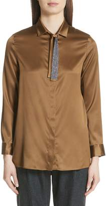 Fabiana Filippi Beaded Tie Neck Stretch Silk Blouse