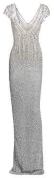 Pamella Roland Ombre Sequin& Crystal Plunging Column Dress