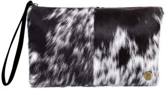 MAHI Leather - Classic Clutch Bag In Black & White Pony Fur