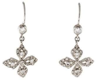Cathy Waterman Platinum Diamond Flower Drop Earrings