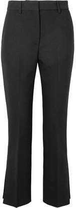 MSGM Cropped Stretch-crepe Flared Pants - Black