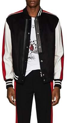 Alexander McQueen Men's Leather-Trimmed Moleskin Varsity Jacket