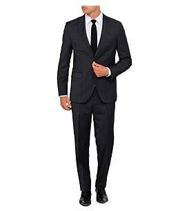 HUGO BOSS 2B Sb Sv Fl Fr Wool/Pol Text Plain Suit