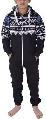 Noroze Boys Girls Kids Hoodie Jumpsuit Onesie One Piece Pajamas (Navy,)